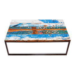 EcoChic Lifestyles - Beach Buoys Reclaimed Wood Coffee Table - Bold stripes of marine color stand out on the Beach Buoys Coffee Table, reminding you of bright beacons bobbing in a harbor. The teak tabletop is hand-constructed from painted fishing boat wood. The metal frame comes from reclaimed bridge iron. An attention-getting centerpiece for your family room or den.