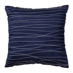 Room Essentials® Embroidered Decorative Pillow - Blue - One way to make a small space feel balanced is by integrating lines into the mix. This pretty blue throw pillow with embroidered lines is a neat way to continue this design element in a space.