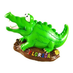 Adorable Florida Alligator Coin Bank Piggy Gator - This adorable cold cast resin alligator money bank really brightens up a room. The bank features a grinning gator perched on a log with Florida written on the side of the log in many colors. The bank measures 4 1/2 inches tall, 3 1/2 inches wide and 7 inches long. The bank empties via a twist-off plastic piece on the bottom. This gator is hand-painted, and makes a great gift for lovers of gators, Florida fans, or anyone wanting to encourage a savings habit.