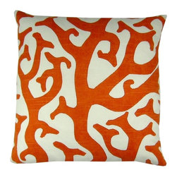 Lava - Coral 18X18 Pillow Coral - 100% Feather fill.  Made in USA.  Spot Clean only