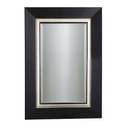 Uttermost - Whitmore Vanity Mirror - Mirror is beveled. Made of Wood. 30 in. W x 1 in. D x 40 in. HThis wood frame has a matte black finish with a silver leaf inner liner and a gray glaze.