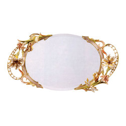 Jay Strongwater - Jay Strongwater Veronique Floral Mirror Tray - Jay Strongwater Veronique Floral Mirror Tray SDH8861-281  -  Size: 3 Inches Tall x 9.5 Inches Wide  -  Part Of The Jay Strongwater Nouveau Collection  -  Finish: Boudoir  -  Mother-of-pearl cabochons set along the scroll handles.  -  Hand Set With Swarovski Crystals  -  Hand Enameled Cast Pewter  -  Made In The U.S.A.  -  Jay Strongwater Item Number: SDH8861281