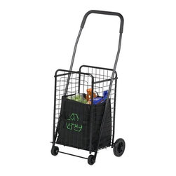 Rolling 4 Wheel Utility Cart - black painted metal tubes and wire, black rubber grip on handle, 4 rubber wheels. total cart weight: 6.75lbs. product size: 14x18 5/8x37.5in