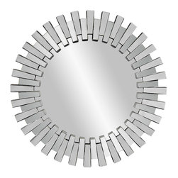 Bassett Mirror - Modern Faceted Round Wall Mirror - Mirrored - Round. Measures: 42 in. W x 42 in. H.