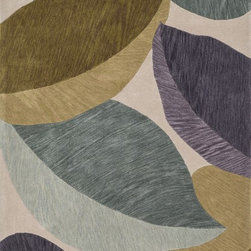 "Loloi Rugs - Loloi Rugs Flora Collection - Ivory / Green, 5'-0"" x 7'-6"" - Flora reinterprets floral prints into bold, over scaled botanicals, with soft touches of color throughout. Hand tufted in China, each rug features gorgeous abrashes details in the design, mimicking the natural imperfections seen in real florals. Hand carved detailing also serves to enhance the pattern. And because Flora is crafted with 100% polyester, shedding is very limited and colors remain strong for years."