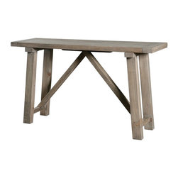 """Farmhouse 55"""" Console Table - Farmhouse collection is inspired by a time when wood furniture was joined to perfect by carpenters and cabinet makers. Our artisans have managed to recreate this effect in each piece of the Farm House collection, which is crafted of recycled and reclaimed wood."""