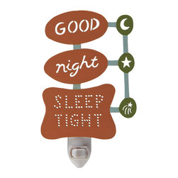 """Inova Team -Modern Plywood Nightlight - As a child, hearing a wish of """"good night, sleep tight,"""" was a sure sign that you had reached home sweet home. Now you can bring back some of that nostalgic glow into your own home. Inspired by mid-century design and the era of the great American road trip, this dreamy night light is designed to look like one of the one of the distinctive hotel signs that once dotted the highways. But while vintage-inspired, this particular marquis is newly made by Jasmine Redfern, who creates it from precision-cut birch plywood painted in vibrant colors. It is mounted on a switch-operated night light fixture, and the cut-out letters of the sign seem to glow like neon when lit. Handmade in New Paltz, New York."""