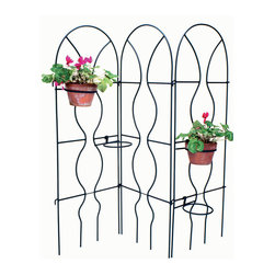 """Achla - Single Metal Powdercoat Wall Trellis - After the plants have been established on this wonderful sectional trellis, it will be a screen of beautiful growth.  This versatile trellis can be located anywhere and will provide a great design effect.  Pair it with other coordinating sections, or leave it alone to support many climbing plants and flowers.  The Sectionable Orange Trellis measures 24"""" wide by 65"""" tall and features an attractive wavy structure that looks great while providing secure purchase for climbing plants and vines.  This wall trellis looks as lovely without flowers as it does with them. * Shown w 3 Sections, price is for 1 section only. Measures 24 in. wide by 65 in. tall. Features an attractive wavy structure that looks. Provides secure purchase for climbing plants and vines. Can be linked with other matching sections to form a freestanding tableau. Made of Iron. Black Powdercoat finish. Each Section: 24 in. W x 65 in. H"""