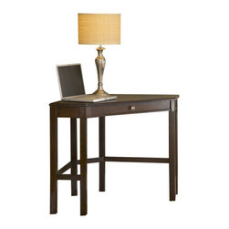Hillsdale Furniture - Hillsdale Solano Corner Desk in Cherry - Need a space to pay bills, do homework, or work on your laptop, but you don't have the room? Hillsdale Furniture's Solano desk is the perfect solution for your living room, kitchen, bedroom or den. Utilizing a small corner of your home, this desk fits unobtrusively into your space to create an ideal small workspace. Available in a rich oak or deep cherry finish, the Solano desk doubles as a lamp table or display table. Composed of solids and wood composites. Some assembly required.