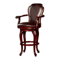 American Heritage - Juliana Bar Stool (Coffee) - Finish: CoffeeGenuine leather upholstery. 360 degree full-bearing swivel. Mortise and tenon construction. 3 in. cushion. Webbed seating. Adjustable leg levelers. Antique brass foot plate. Warranty: 5 years. Made from wood. Seat: 20 in. W x 18.25 in. D x 30 in. H. Arm height: 38.5 in.. Overall: 27 in. W x 25.50 in. D x 49.5 in. H