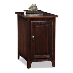 LEIck Rectangle Chocolate Oak Wood Cabinet Storage End Table