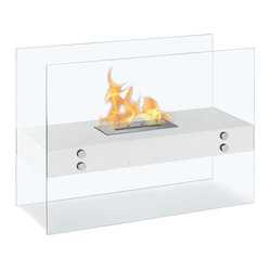 "Ignis Products - Vitrum H White Freestanding Ventless Ethanol Fireplace - Grab your bearskin rug and get ready to snuggle in front of the warm and inviting heat of this Vitrum H White Freestanding Ventless Ethanol Fireplace. This innovative design is clear with a red plate for holding the flame inside, so you can easily see more of the flame for enhanced beauty in any room.  This beautiful ethanol fireplace throws out intoxicatingly warm heat that is perfect for entertaining during the holidays and year round. It has an ethanol burner insert that holds 1.5 liters of bio ethanol fueland that burns for about five hours. The total approximate output of this unique free standing fireplace is 6,000 BTUs, which is sufficient for warming an average-sized room. Dimensions: 31.5"" x 23.5"" x 12"". Features: Ventless - no chimney, no gas or electric lines required. Easy or no maintenance required. Freestanding - can be placed anywhere in your home (indoors & outdoors). Capacity: 1.5 Liters. Approximate burn time - 5 hour per refill. Approximate BTU output - 6000."