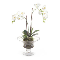 "Frontgate - Nature's Beauty Floral Arrangement - Hand-arranged polyester silk blooms and leaves. Clear glass vase. Filled with acrylic ""water"". Imported. Pure colors stand out in Nature's Beauty, as white orchids and lush greenery highlight an arrangement ""planted"" in a clear glass compote. So lifelike, you'll want to water it. . . . ."