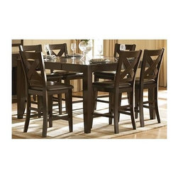 """Homelegance - Counter Height Dining Set with X-Back Design - Includes counter height table and four counter height chairs. Brown finish. Attractive """"X"""" back dining chair. 30 days warranty to all product sold against Manufacture Defect. Table: 60 in. L x 42-60 in. W x 36 in. H. Chair: 22.5 in. W x 19.75 in. D x 43.75 in. H"""