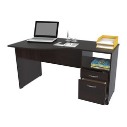 Inval America - Curved Top Desk - This desk would be a wonderful addittion to any home office. It is stylish and functional with a curved top and accessory drawer .