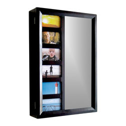 Proman Products - Venice Wall Mount Jewelry Armoire in Mahogany - 6 picture holder, 12 drawers and a mirror on door. Easy to install. Drawers, hooks and earrings slots. Made from wood. No assembly required. 16 in. W x 4 in. D x 23 in. H