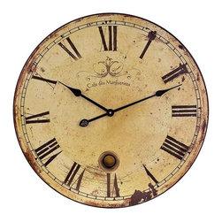 "IMAX - Large Wall Clock with Pendulum - Popular Antiqued and distressed Large Wall Clock with Pendulum Item Dimensions: (23""d x 1.75"")"