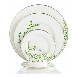 """Kate Spade """"Gardner Street Green"""" 5-Piece Place Setting - These dinner plates will go in any setting. I love the details — they're just enough without being too much."""