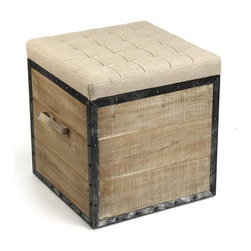 Zentique - Zentique Stool- Burlap - Zentique, Stool in Burlap