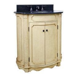 "Hardware Resources - Lyn Design VAN014-T - This 30-1/2"" wide MDF elliptical vanity is accented with reed columns and simple carvings. The buttercream finish with antique crackle is created by hand, making each vanity unique. A large cabinet provides ample storage. This vanity has a 2CM black granite top preassembled with an H8809WH (15"" x 12"") bowl, cut for 8"" faucet spread, and corresponding 2CM x 4"" tall backsplash. Overall Measurements: 32"" x 21"" x 35-3/4"" (measurements taken from the widest point)"