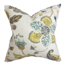 """The Pillow Collection - Jora Floral Pillow White 18"""" x 18"""" - This decor pillow offers a lush and summery vibe with its floral pattern. The intricate print features a bright color palette with shades of yellow, brown, blue and white. Mix and match this 18"""" pillow with solids and other prints. Crafted with a blend of 55% linen and 45% rayon material. This throw pillow suits various settings and decor styles. Hidden zipper closure for easy cover removal.  Knife edge finish on all four sides.  Reversible pillow with the same fabric on the back side.  Spot cleaning suggested."""