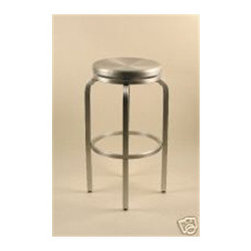 "Alston - Paula Brushed Aluminum Swivel Bar Stool - Made of brushed aluminum, this sleek stool is great indoors and out. The stool is lightweight and comfortable, so its great for the porch or patio, by the pool or even for an outdoor caf, bar or restaurant. With a round seat, this barstool is made with a comfortable and durable design. Features: -Brushed aluminum frame. -Swivel bar stool. -Round seat. -Comfortable and durable design. -1 year manufacturer warranty. -Suitable for indoor and outdoor use. -Suitable for Commercial/Residential Use. -30"" seat height. -Seat Diameter: 15"". -Overall Dimensions: 30"" H x 20"" W x 20"" D."