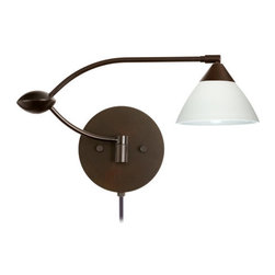 Besa Lighting - Besa Lighting 1WU-174307-CP Domi 1 Light Swing Arm Halogen Wall Sconce - Domi has a classical bell shape that complements aesthetic, while also built for optimal illumination. Our White glass is a soft white cased glass that can suit any classic or modern decor. White has a very tranquil glow that is pleasing in appearance. The smooth satin finish on the clear outer layer is a result of an extensive etching process. This blown glass is handcrafted by a skilled artisan, utilizing century-old techniques passed down from generation to generation. The swing arm fixture includes a 12V electronic transformer and integrated full-range rotary dimmer. The adjustable arm assembly allows for 155 degree rotation and pivots at the clamshell-shaped center connection.Features: