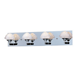"ET2 - ET2 Blossom 27 3/4"" Wide Crystal Bathroom Light Fixture - Tiers of gleaming glass form petals in this fantastic crystal bathroom light fixture. These intricate shapes create four glistening shades that surround warm Xenon bulbs. Polished chrome finish arms and rectangular wallplate add an additional level of shine to this wonderful contemporary bathroom wall light design from ET2. Metal canopy. Polished chrome finish. Crystal shades. Includes four 40 watt G9 Xenon bulbs. 27 3/4"" wide. 6"" high. Extends 7"". Color temperature of bulbs is 2900K.  Metal canopy.   Polished chrome finish.    Crystal shades.   Includes four 40 watt G9 Xenon bulbs.   27 3/4"" wide.   6"" high.   Extends 7"".   Color temperature of bulbs is 2900K."