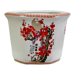 Oriental Unlimted - 10 in. Wide Cherry Blossom Porcelain Flower P - Distinctively decorated flower or planter pot. Beautiful planter pots with hole in the bottom for drainage. Strong, durable, fine quality Chinese high temperature fired porcelain. 10 in. W x 9 in. D x 7.5 in. H (5.5 lbs.)