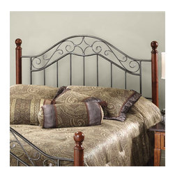 """Hillsdale - Martino Metal Headboard - The Martino headboard by Hillsdale Furniture is a perfect marriage of style and sophistication. The contrasting finishes create a unique design that complements any home decor. Features: -Delicate smoke silver scrollwork.-Fits in a variety of settings.-Frame required for mattress support.-Classic cherry finished posts.-Frame Material: Metal.-Solid Wood Construction: No.-Upholstered: No.-Distressed: No.Dimensions: -Overall Height - Top to Bottom (Size: Full/Queen, King): 53.5"""".-Overall Width - Side to Side (Size: Full/Queen): 62"""".-Overall Depth - Front to Back (Size: King): 77.5""""."""