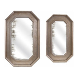 "Imax - Cannes Oversized Tray Wall Decor Mirror - Set of 2 - *Dimensions: 17.5-22.25""h x 30.25-35.25""w x 1.5"""