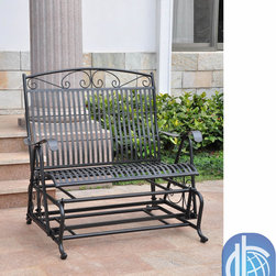International Caravan - International Caravan Iron Glider Bench Seat - Spend a relaxing afternoon alone or with a loved one in this iron glider bench seat. This comfortable bench seats two people and works great in sunrooms or backyards; in addition, its study construction is destined to be enjoyed for years.