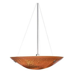 """LBL Lighting - LBL Lighting Veneto Grande Pendant Mocha 26W 1 Light Bowl Pendant - LBL Lighting Veneto Grande Pendant Mocha 26W 1 Light Bowl PendantFeaturing genuine Italian Murano handmade Mocha glass with fused frit patterns and real inlaid silver flakes, this exquisite 23.5"""" pendant will add a touch of class and style to any home or business. Install this fixture in level or sloped ceilings up to 45 degree steep with the special built in canopy. The three included 26 watt mini-candelabra base halogen lamp provides ample lighting for this splendid fixture.LBL Lighting Veneto Grande Pendant Mocha 26W Features:"""