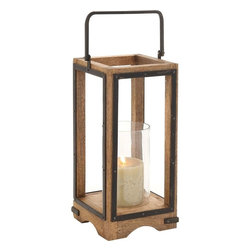 """Benzara - Amazing Styled Wood Metal Glass Lantern - This metal, wood and glass constructed lantern instantly adds interest to the place it is kept in. this lantern features rectangle shaped sides. The slender wood finish and sturdy handle helps you hook the lantern to any wall of your choice. Also the handle helps you carry the lantern from one place to another. Add a white or beige colored candle to the lantern to cast a warm glow in the ambiance. The lantern will get along well with all kind of home interiors and also it can be used for both indoor and outdoor use. You must have never before seen a lantern like this, as this is just one of its kinds. Apart from adding brightness to the surroundings, the lantern will add warmth too. The sight of the lantern with the candle glow is worth a watch. So, get it if you like the style of this lantern. Wood Metal Glass Lantern measures 8 inches (Width) x 8 inches (D) x 22 inches (H); Made of quality wood, metal and glass; Durable construction; Dimensions: 8""""L x 8""""W x 30""""H"""