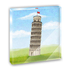 "Made on Terra - Italy Leaning Tower of Pisa Mini Desk Plaque and Paperweight - You glance over at your miniature acrylic plaque and your spirits are instantly lifted. It's just too cute! From it's petite size to the unique design, it's the perfect punctuation for your shelf or desk, depending on where you want to place it at that moment. At this moment, it's standing up on its own, but you know it also looks great flat on a desk as a paper weight. Choose from Made on Terra's many wonderful acrylic decorations. Measures approximately 4"" width x 4"" in length x 1/2"" in depth. Made of acrylic. Artwork is printed on the back for a cool effect. Self-standing."