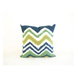 "Trans-Ocean - Zigzag Ikat Green Pillow - 12""X20"" - The highly detailed painterly effect is achieved by Liora Mannes patented Lamontage process which combines hand crafted art with cutting edge technology.These pillows are made with 100% polyester microfiber for an extra soft hand, and a 100% Polyester Insert.Liora Manne's pillows are suitable for Indoors or Outdoors, are antimicrobial, have a removable cover with a zipper closure for easy-care, and are handwashable."