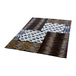 Blancho Bedding - Onitiva - Tiger Stripes -E Patchwork Throw Blanket  50 by 70 inches - This animal skin patchwork throw blanket measures 50 by70 inches. Comfort, warmth and stylish designs.