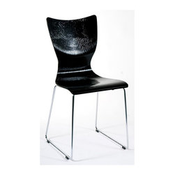 Euro Style - Laurel Embossed Molded Side Chairs - 2 Pc Set - Color: Gloss BlackA contemporary hourglass shape highlights these molded side chairs, constructed of MDF with tubular steel bases in a gleaming chrome colored finish. Available in your choice of finishes, the chairs are embossed for added visual interest and are sold in a set of two. Set of 2. Modern shape gives style to any home. Embossed MDF seat and back, chrome frame. Made of MDF/Chrome. Gloss Black Seat and Chrome Legs. Warranty: 1 year. Tools for Assembly Included. Some Assembly Required. 17 in. W x 19 in. D x 32 in. H (72 lbs.)
