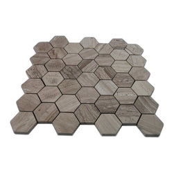 Wooden Beige Hexagon Polished Marble Mosaics - SAMPLE - WOODEN BEIGE HEXAGON 1/4 SHEET SAMPLE You are purchasing a 1/4 sheetsample,withFREE USPS shipping. Samples are intended for color comparison purposes, not installation purposes.-Glass Tiles -