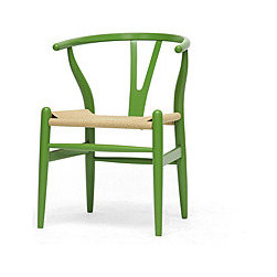 Mid-Century Modern Green Wood Y Wishbone Chair - I love this green Wishbone chair. You could use one as a desk chair or a set of them for dining chairs. Mix them in with the desk or table you already have.