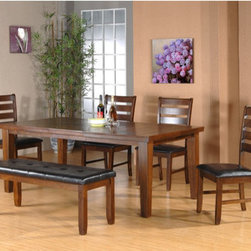 "Urban Styles - Utopia 6 Piece Dining Set - The Utopia dining collection is modern casual with extreme comfort. Can sit up to 8 or slide a bench in. Each piece in this collection is inspected by this qualified QC Department before they ship it to the retailer's Showroom. Features: -Set includes 1 table, 1 bench and 4 side chairs. -Oak Cherry finish. -Heavy table design for long lasting dining experience. -Space saver bench, great to sit up to 3 kids. -18"" Storage leaf to enlarge the table from 60"" up to 78"". Dimensions: -Table: 30"" H x 78"" W x 42"" D. -Chair: 39"" H x 20"" W x 23"" D. -Bench: 20"" H x 48"" W x 18"" D. -Overall Product Weight: 255 lbs."