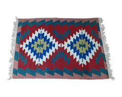 """Turkish Kilim Area Rug Hand Loomed Wool - Hand loomed wool kilim rug is an attractive, colorful decorating addition to any room of your home.  Being hand loomed with hand spun wool and knotted fringe, it is a much more valuable rug than typical machine made carpets.  Carpet is a heavy-weight wool measuring approximately 45-1/2"""" wide by 63"""" long."""