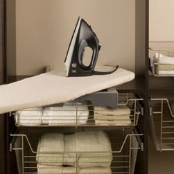 Organize To Go Sidelines Press Fix Ironing Board, Steel mounted frame Swivels - For compact storage and easy access, Sidelines' Press Fix Ironing Board stores in the closet or laundry room on a 24 inch wide fixed shelf.
