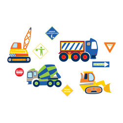 "WallPops - Construction Zone Wall Decals - These fun kids decals make a construction zone on the walls with fun colors and dynamic graphics. For the kid who is fascinated by vehicles at work, these road signs and trucks decals will be a hit! This wall art kit contains 10 pieces on four 9.75"" x 17.25"" sheets. WallPops are repositionable and always removable."
