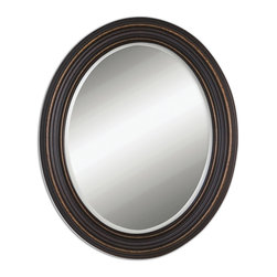 Uttermost - Ovesca Oval Mirror - Dark, oil rubbed bronze finish with gold highlights. Mirror is beveled. May be hung horizontal or vertical.
