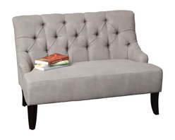 Great Deal Furniture - Mariana Fabric Settee, Grey - The Mariana Settee offers seating with a design derived from French Colonialism. The curved backrest, espresso stained legs, give this piece a unique elemental twist. With the tufted detailing along the backrest, the Mariana Settee will add a refined and elegant touch to any room you place it in.