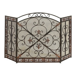 Aspire - Fleur De Lis Iron Fireplace Screen - This beautiful Fleur De Lis fireplace screen is a great choice if you are looking for an elegant, romantic, stylish screen to use for your fireplace. Rotating on hinges, each side can be adjusted to your desired angle. A metal mesh backs the wrought iron designs, so no sparks fly through the spaces between the iron. 100% iron construction. Dark green and antique silver finish with hues of red. Metal. Color/Finish: Dark green, silver. 31 in. H x 52 in. W x .5 in. D. Weight: 16 lbs.