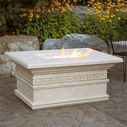 Mediterranean Luxury Fire Pit Table with Keys Trim - Mediterranean Luxury Fire Pit Table with Keys Trim provides an air of luxury and style in any outdoor patio or backyard entertaining area. -Mantels Direct