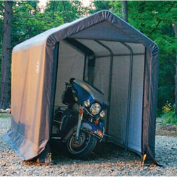 ShelterLogic - ShelterLogic 6 x 12 ft. Shed-in-a-Box Canopy Storage Shed - 70413 - Shop for Sheds and Storage from Hayneedle.com! Perfect for motorcycles an ATV or gardening equipment the ShelterLogic 6 x 12 Foot Shed-in-a-Box Canopy Storage Shed has double zippered front and rear-door panels for easy access. Simply drive your ATV in one door and out the other. For durability this shed is made of rip-stop fabric over a powder-coated steel frame. The slip-together tubing makes this shed easy and quick to assemble. Features: Every frame tube and connector goes through a proprietary 13-step Rhino Shield surface preparation process Heavy-duty 1 3/8-inch all-steel frame is bonded with DuPont thermoset; baked-on powder-coated finish prevents chipping peeling rust and corrosion Triple-layer rip-stop chemically heat-bonded polyethylene cover UV-treated inside and out with added fade blockers and anti-aging and anti-fungal agents which results in a cover that withstands the elements High-profile white interior lining provides enhanced illumination Assembles easily with swedged tubing Ratchet-Tite tensioning system enables quick cover installation and keeps cover tight to frame for finished look Door openings are 4.75W x 5H feet