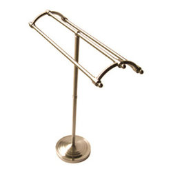 "Kingston Brass - Pedestal Round Plate Towel Rack - Kingston Brass' bathroom accessories are built for long-lasting durability and reliability. They are designed so you can easily coordinate matching pieces. Each piece is part of a collection that includes everything you need to complete your bathroom decor.; 35-1/8"" tall; 10"" diameter base; 31-1/8"" long towel rack; No tools required for assembly; Matching accessories available; Material: Brass; Finish: Satin Nickel; Collection: Vintage"